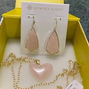 Kendra Scott Rose Quartz 2PC Set NWT